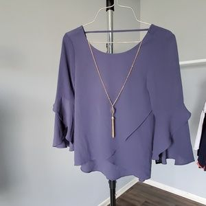 BCX XXS Ruffled blouse w/ built in necklace